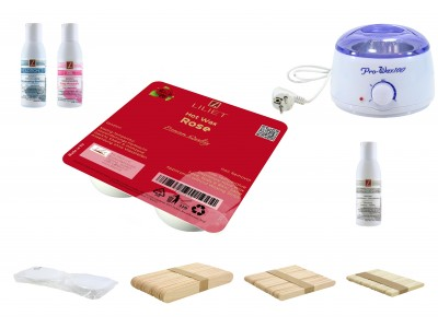 Depilatory Kit, Hot Wax, ROSE, without Waxing Strips, PREMIUM QUALITY, Hair Removal