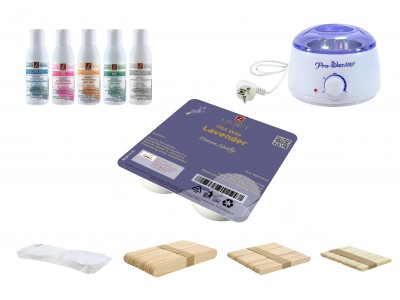 Depilatory Kit, Hot Wax, LAVENDER, without Waxing Strips, PREMIUM QUALITY, Hair Removal