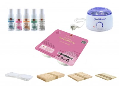 Depilatory Kit, Hot Wax, STRAWBERRY, without Waxing Strips, PREMIUM QUALITY, Hair Removal