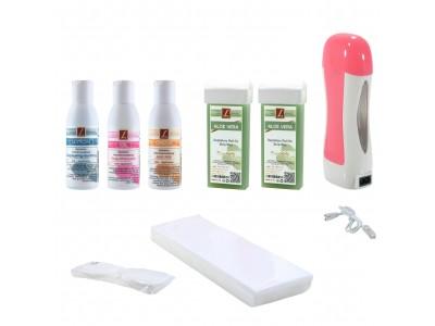 EpilationsSet: 2x WarmwachsPatronen ALOE VERA + Vorbahandlung + Nachbehandlung, Kosmetikpads, Wax, Kit