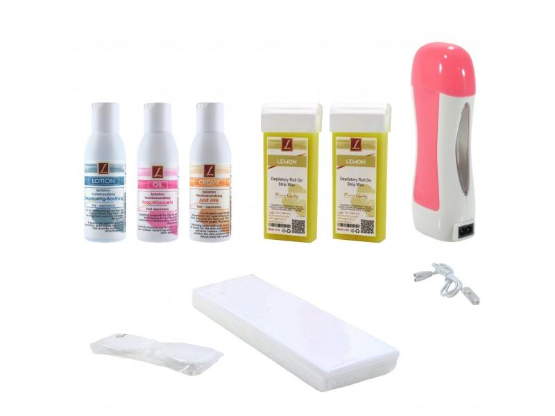 EpilationsSet: 2x WarmwachsPatronen LIMONE + Vorbahandlung + Nachbehandlung, Kosmetikpads, Wax, Kit