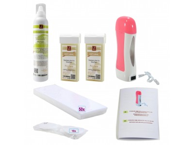 EpilationsSet: 2x Warmwachs-Patronen + Mousse, Wachskartuschen, PREMIUM QUALITY, NATUR, Wax, Kit
