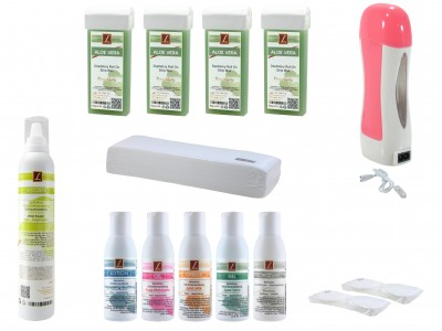 EpilationsSet: 4x Patronen-Wachs Roll On ALOE VERA, 5x Lotionen, Mousse, Kosmetikpads