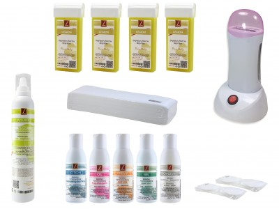 EpilationsSet: 4x Patronen-Wachs Roll On LIMONE, 5x Lotionen, Mousse, Kosmetikpads