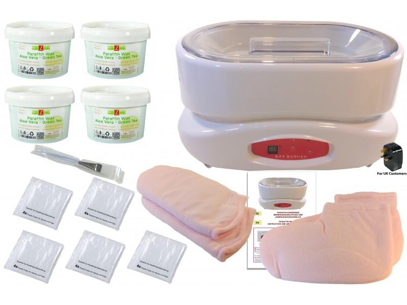 Set: ParaffinBad(Wachs) XL, mit Zubehör, Hände, Füße, 4x ALOE-VERA / GREAN-TEA (4 X 500ml = 2000ml) + Erwärmer, PREMIUM QUALITY