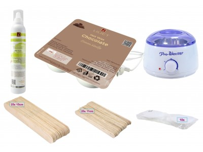 Depilatory Kit, Hot Wax, CHOCOLATE, Application without Waxing Strips, PREMIUM QUALITY