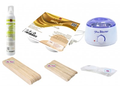 Depilatory Kit, Hot Wax, GOLD, for fine hairs Application without Waxing Strips, PREMIUM QUALITY