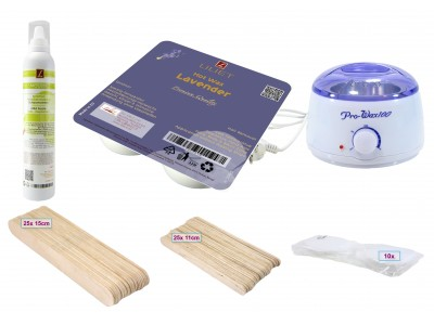 Depilatory Kit, Hot Wax, LAVENDER, Application without Waxing Strips, PREMIUM QUALITY