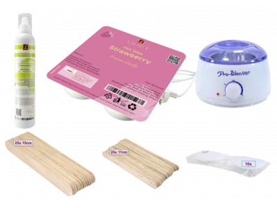 Depilatory Kit, Hot Wax, STRAWBERRY, Application without Waxing Strips, PREMIUM QUALITY