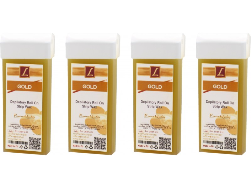 4x 100ml Strip Wax Cartridge GOLD, Premium Quality